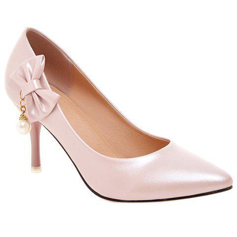 Trendy Elegant Bow and Faux Pearls Design Pumps For Women