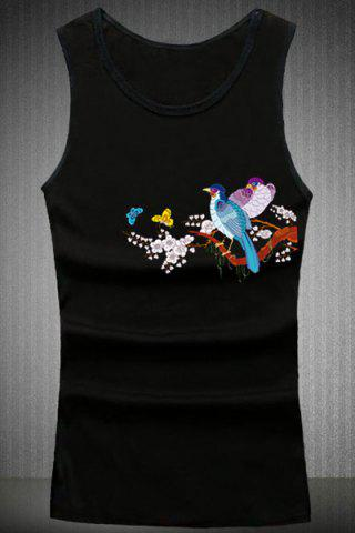 Affordable Loose Fit Round Collar Birds Printing Tank Top For Men