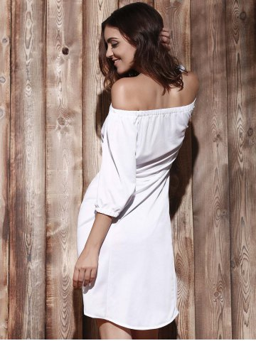 Outfit High Low Off The Shoulder Dress - XL WHITE Mobile