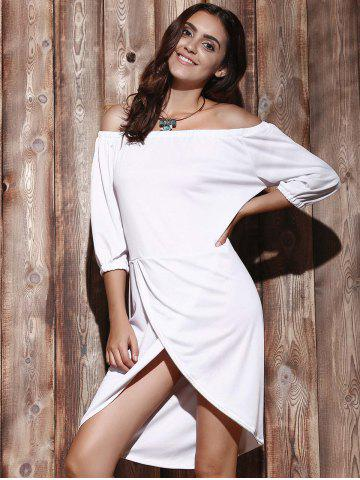 Hot High Low Off The Shoulder Dress - XL WHITE Mobile