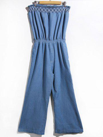 Store Women's Stylish Strapless Denim Jumpsuit BLUE S