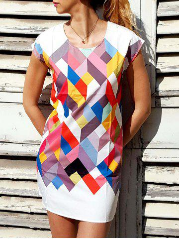 Best Chic Scoop Collar Short Sleeve Geometric Print Women's Dress COLORMIX L