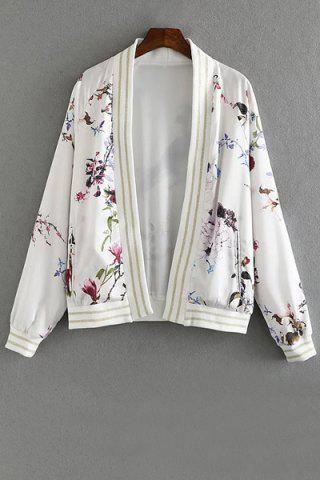 Stand Collar Long Sleeve Floral Print Jacket
