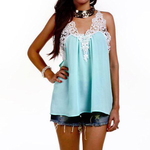 Cheap Stylish Scoop Neck Crochet Chiffon Tank Top For Women