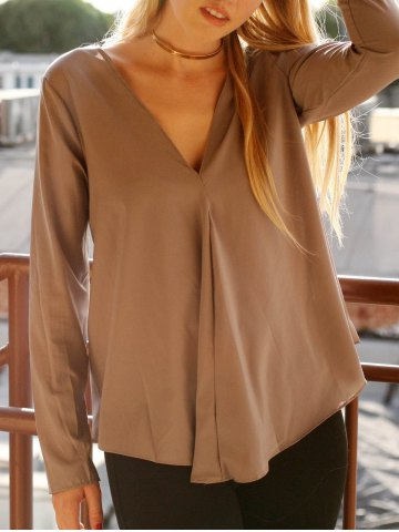 Trendy Chic V Neck Long Sleeve Pure Color Asymmetrical Women's Blouse GRAY S