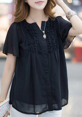 Best Fashionable Short Sleeve Ruffled Buttoned Women's Blouse