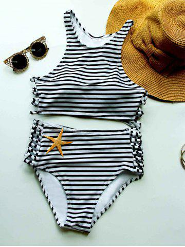 Store Striped High Waisted Bikini with Crop Top WHITE AND BLACK L