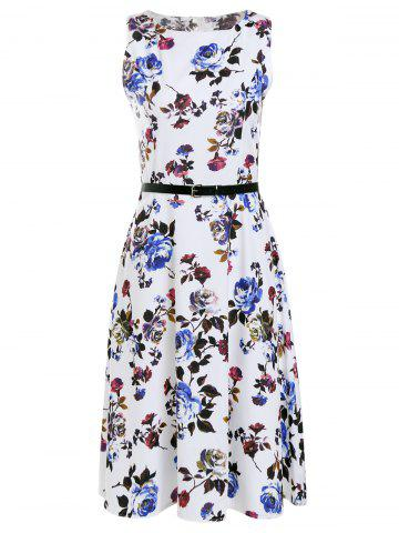 Chic Trendy Round Collar Sleeveless Floral Print Slimming Women's Dress WHITE L