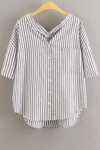Striped Oversized Pocket Blouse - WHITE S