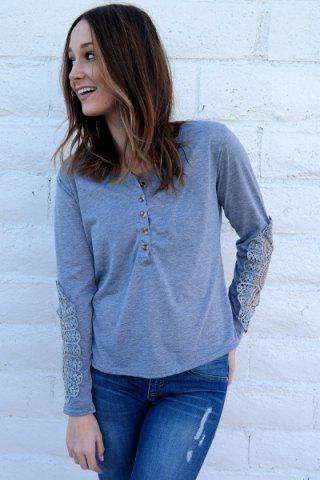 New Casual Scoop Neck Lace Splicing Long Sleeve T-Shirt For Women - LIGHT BLUE M Mobile