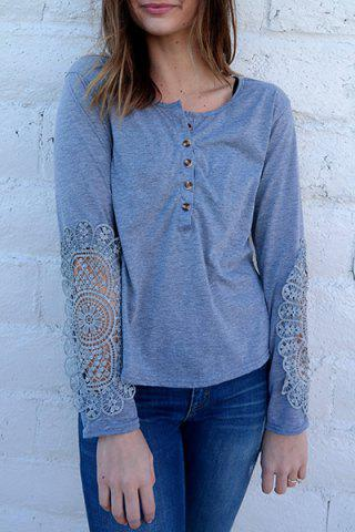 Online Casual Scoop Neck Lace Splicing Long Sleeve T-Shirt For Women - LIGHT BLUE M Mobile