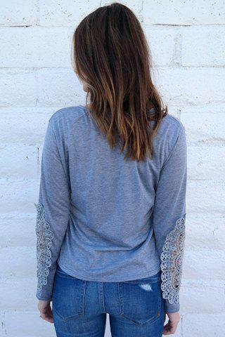 Best Casual Scoop Neck Lace Splicing Long Sleeve T-Shirt For Women - LIGHT BLUE M Mobile