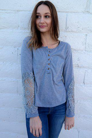 New Casual Scoop Neck Lace Splicing Long Sleeve T-Shirt For Women - LIGHT BLUE XL Mobile