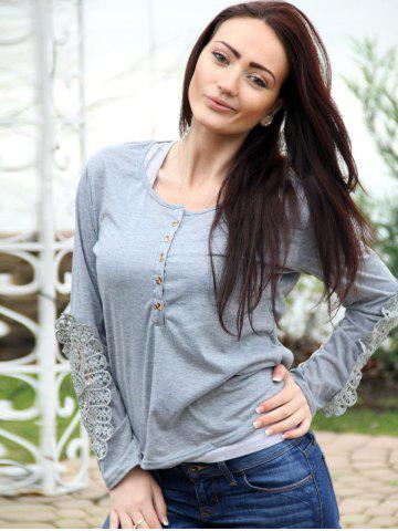 Chic Casual Scoop Neck Lace Splicing Long Sleeve T-Shirt For Women - S LIGHT GRAY Mobile