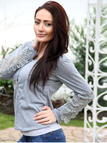 Trendy Casual Scoop Neck Lace Splicing Long Sleeve T-Shirt For Women - S LIGHT GRAY Mobile