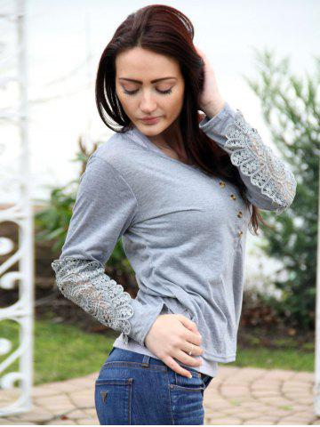 Buy Casual Scoop Neck Lace Splicing Long Sleeve T-Shirt For Women - S LIGHT GRAY Mobile