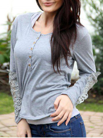 Chic Casual Scoop Neck Lace Splicing Long Sleeve T-Shirt For Women LIGHT GRAY L