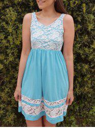 Refreshing Scoop Collar Sleeveless Color Block Lace Spliced Women's Sundress - AZURE