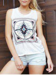 Ethnic Scoop Neck Loose-Fitting Geometric Top For Women - WHITE