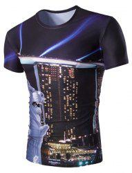 Slimming Round Neck Building Printed T-Shirt For Men -