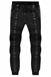Loose Fit Narrow Feet Lace Up Sweatpants For Men - BLACK