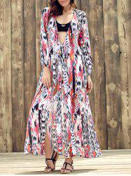 Ethnic Plunging Neckline Long Sleeve Print Slit Dress