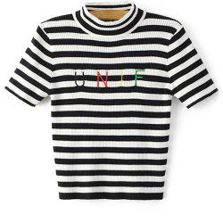 Letter Embroidery Knitted Striped T-Shirt -