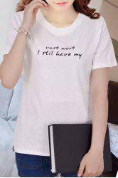 Simple Style Letter Design Pullover T-Shirt For Women -