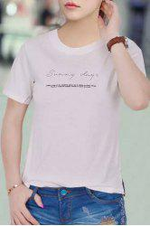 Simple Style Letter Printed Pullover T-Shirt For Women -