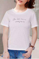 Casual Letter Printed Pullover T-Shirt For Women -