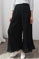 Fresh Style Solid Color Pleated Ankle Wide-Leg Pants For Women