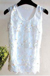 Chic Scoop Neck Lace Spliced Beaded Leaf Pattern Women's Tank Top