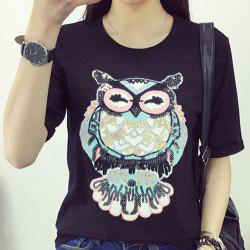 Stylish Night Owl Pattern Short Sleeve Women's T-Shirt