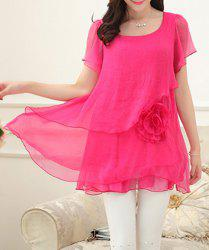 Slimming Scoop Neck Bell Sleeves Asymmetric Women's Blouse
