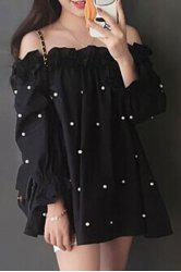 Sweet Boat Neck Ruffled Design Beading Women's Blouse -