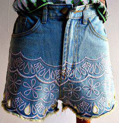 Trendy High-Waisted Pocket Design Embroidered Women's Shorts - LIGHT BLUE