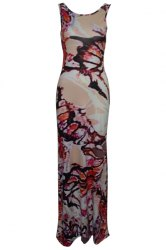 Printed Criss Long Bodycon Formal Dress