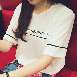 Preppy Style Round Neck Short Sleeve Letter Pattern Loose T-Shirt For Women -