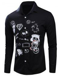 Turn-Down Collar Scrawl Printed Long Sleeve Shirt For Men - BLACK