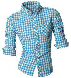Slimming Shirt Collar One Pocket Plaid Print Long Sleeves Button-Down Shirt For Men -