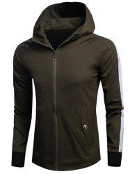 Letters Print Hit Color Rib Spliced Fitted Hooded Long Sleeves Jacket For Men -