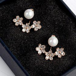 Pair of Alloy Faux Pearl Floral Cartilage Earrings -