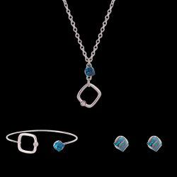 Faux Crystal Cube Shape Jewelry Set