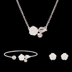 Flower Leaf Shape Rhinestone Jewelry Set (Necklace Bracelet and Earrings) - SILVER