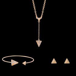 Rhinestoned Pyramidal Triangular Shape Jewelry Set (Necklace Bracelet and Earrings)