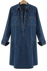 Button Tunic Denim Shirt Dress With Long Sleeves