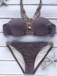 Halter Push-Up Beaded Metallic Bikini - LIGHT COFFEE M