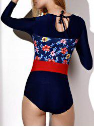 Trendy Round Neck Long Sleeve Floral Print One-Piece Swimwear For Women -