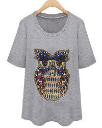 Short Sleeve Owl Graphic T-Shirt -