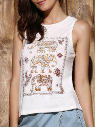 Trendy Scoop Neck Sleeveless Elephant Print High Low Women's Tank Top